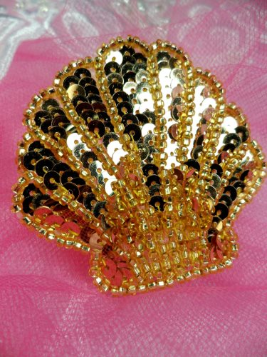 FS604 Seashell Ocean Gold Applique Sequin Beaded Nautical Patch 2""
