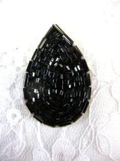 """FS613 Black Teardrop Beaded Applique 1.5"""""""
