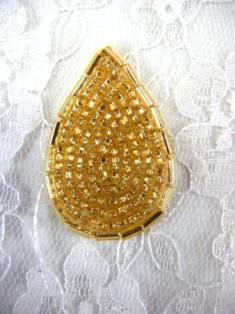 """FS613 Gold Teardrop Beaded Applique 1.5"""""""