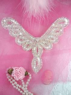 "FS621 Crystal AB Silver Collar Beaded Sequin Applique 5.25"""