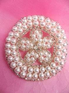 "FS6389 Round Pearl Silver Beaded Applique 2.25"""