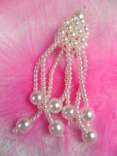 """FS6818 Pearl Dangle Beaded Applique 3"""""""