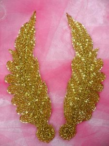 """FS724 Gold MIRROR PAIR Beaded Feather Appliques 7"""""""