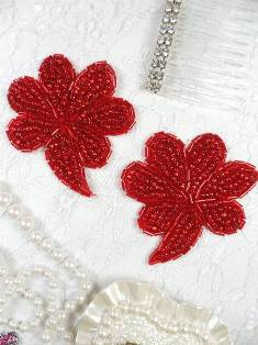 """FS739 Red Beaded Mirror Pair Sequin Appliques 2.5"""""""
