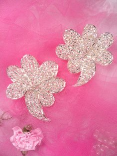 """FS739 Silver Beaded Mirror Pair Sequin Appliques 2.5"""""""