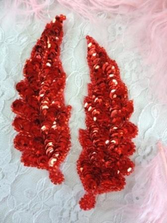 """FS760  Red Leaf Mirror Pair Beaded Sequin Appliques 4"""""""