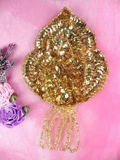 FS768 Gold Epaulet Beaded Sequin Applique 5.75""