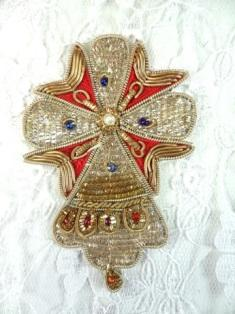 FS77 Gold and Red Cross Stiched Beaded Crown Applique 3""