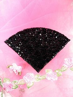 FS884 Black Epaulet Beaded Sequin Applique 5""