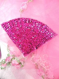 FS884 Fuchsia Fan Epaulet Beaded Sequin Applique 5""