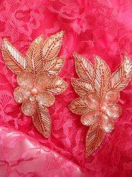 """FS952B Peach Flower Mirror Pair Beaded Sequin Rhinestone Appliques 6"""""""