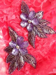 "FS952B Purple Flower Mirror Pair Beaded Sequin Rhinestone Appliques 6"""
