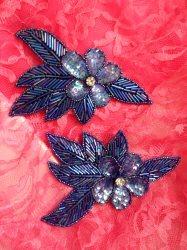"FS952B Sapphire Blue AB Flower Mirror Pair Beaded Sequin Rhinestone Appliques  6"""