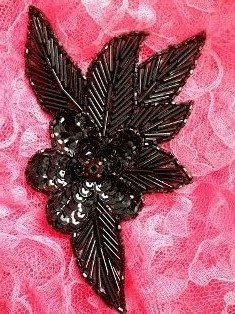 "FS952BL Black Flower Beaded Sequin Applique 6"""