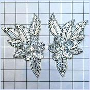 "Appliques Silver Sequins Black Backing Flowers Mirror Pair Beaded Rhinestone Motifs 6"" (FS952BX)"