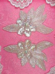 "FS952B Crystal Aurora Borealis Flower Mirror Pair Pearl Centered Beaded Sequin Applique Set 6"""