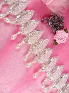 """FSV150A  Leaf drops White Pearl Crystal AB Silver Beaded Trim 2.25"""""""