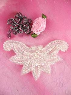 """AFSV183 Crystal AB White Pearl Beaded Sequin Applique 3.75"""""""