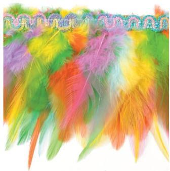 "E4022  Multicolor Feather Sewing Trim 3"""