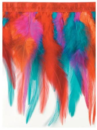 "E4023  Multicolor Marabou Feather Sewing Trim 5"""