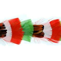 P4003 Red Beige & Green Feather Trim Pre-Cut 36""