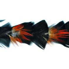 P4033 Black & Red Feather Trim Pre-Cut 36""