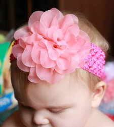 GB10 Layered sheer chiffon Flower on Crochet headband 4 Colors Available