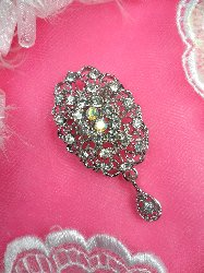 "GB100 Bridal Rhinestone Brooch Pin Vintage Silver Crystal Glass Dangle 2.25"""