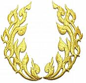 "Gold Metallic Flames of Fire Design Iron On Embroidered Appliques 8"" GB1000X"