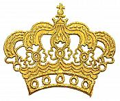 "Gold Metallic Crown Iron On Embroidered Applique Iron on Sewing Patch 6"" GB1001"
