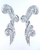 "Sequin Appliques Mirror Pair Silver Beads Sewing Motifs 8"" GB1005X"