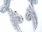 "Sequin Appliques Mirror Pair Silver Beads Sewing Motifs 8"" GB1005X"