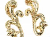 "Sequin Appliques Mirror Pair Gold Beads Sewing Motifs 7"" GB1006X"