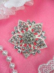 """GB101  Bridal Rhinestone Brooch Pin Vintage Silver Crystal Glass 1.75"""""""