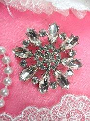 """GB102 Bridal Rhinestone Brooch Pin Vintage Silver Crystal Glass 2"""""""