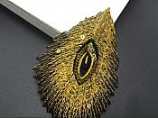 """GB103 Embroidery Applique Yellow Gold Feather Gold Sequined Patch 4"""""""