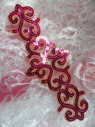 GB104 Fuchsia Gold Sequin Applique Iron On Patch 8.5""