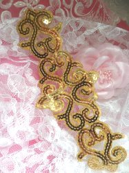 GB104 Gold Sequin Applique Iron On Patch 8.5""