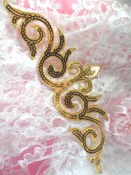 """GB105 Gold Sequin Applique Iron On Patch 9.25"""""""
