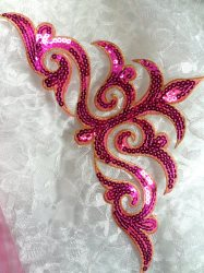GB106 Fuchsia Gold Sequin Applique Iron On Patch 11.5""