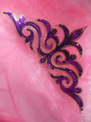 GB106 Purple Gold Sequin Applique Iron On Patch 11.5""