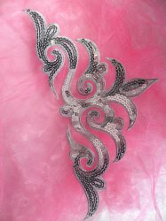 GB106 Silver Sequin Applique Iron On Patch 11.5""