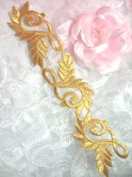 GB108 Gold Metallic Embroidered Applique Iron On Patch 8""
