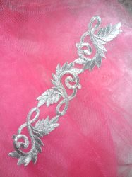 """GB108 Silver Metallic Embroidered Applique Iron On Patch 8"""""""