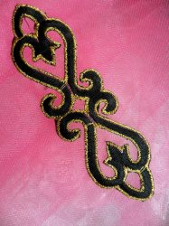 GB111 Black Gold Applique Iron On Patch 5""