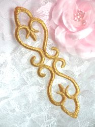"""GB111 Embroidered Applique Gold Designer Craft or Clothing Iron On Patch 5"""""""