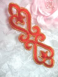 """GB111 Red Gold Applique Iron On Patch 5"""""""