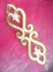 """GB111 White Gold Applique Iron On Patch 5"""""""