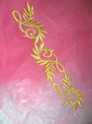 GB112 Gold Metallic Embroidered Applique Iron On Patch 7.5""