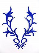 """GB113 Embroidered Applique Blue Metallic Iron On Patch 5.5"""""""